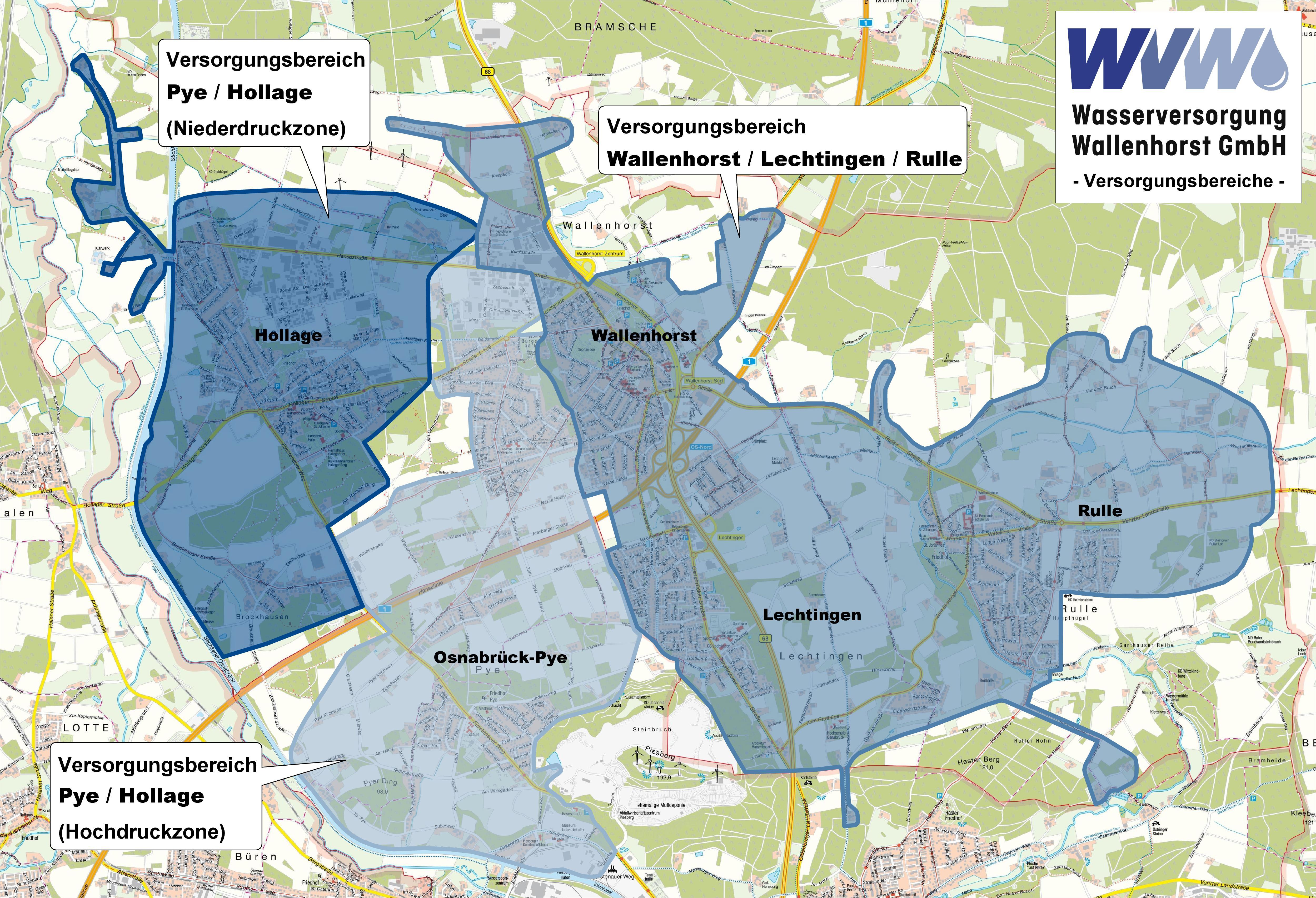 Versorgungsbereiche der WVW GmbH